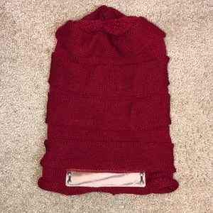 Accessories - Dark Red Beanie with Metal Bar feature